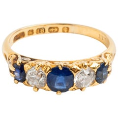 Victorian Sapphire and Diamond Boat Shaped Ring, Hallmarked Birmingham 1890