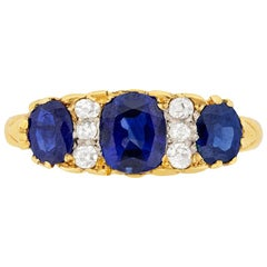 Victorian Sapphire and Diamond Carved Shank Ring, circa 1900s