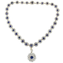 Victorian Sapphire and Diamond Cluster Necklace