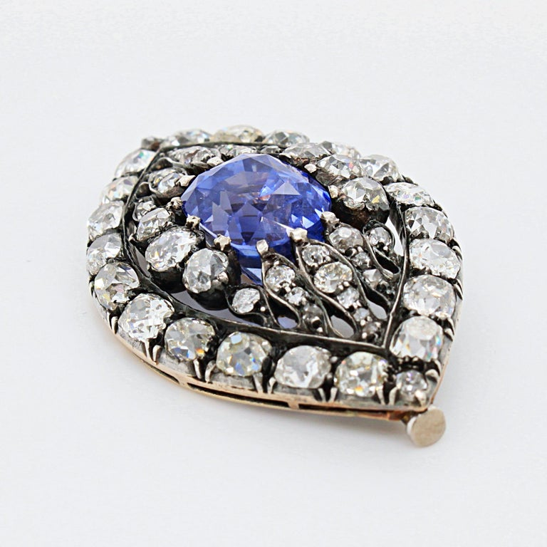 Antique Cushion Cut Victorian Sapphire and Diamond Eye Brooch, 1880s For Sale