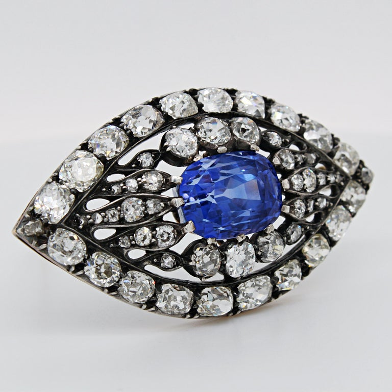 Women's or Men's Victorian Sapphire and Diamond Eye Brooch, 1880s For Sale