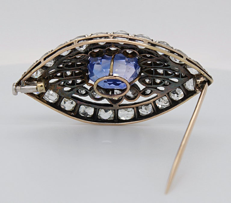 Victorian Sapphire and Diamond Eye Brooch, 1880s For Sale 1
