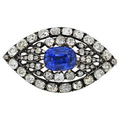 Victorian Sapphire and Diamond Eye Brooch, 1880s