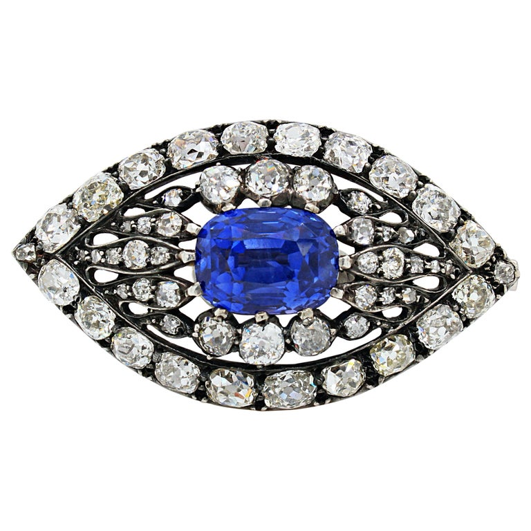Victorian Sapphire and Diamond Eye Brooch, 1880s For Sale