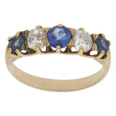 Victorian Sapphire and Diamond Half Eternity Engagement Ring