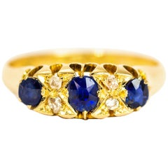 Victorian Sapphire and Diamond Three-Stone 18 Carat Gold Ring