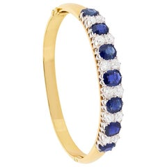Victorian Sapphire and Old Cut Diamond Bangle, circa 1900s