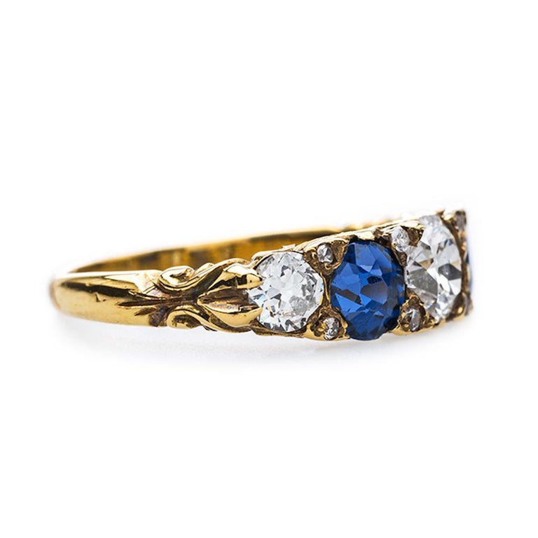 Victorian Sapphire and Old European Cut Diamond Band In Excellent Condition For Sale In Beverly Hills, CA