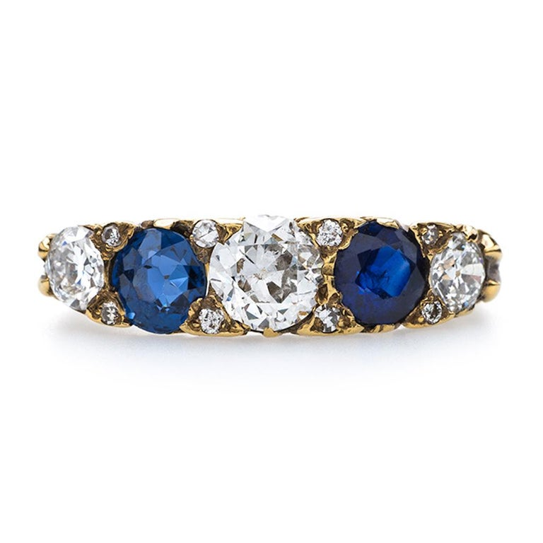 Women's Victorian Sapphire and Old European Cut Diamond Band For Sale