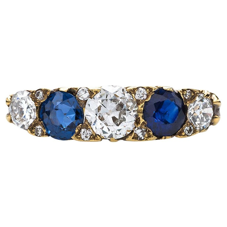 Victorian Sapphire and Old European Cut Diamond Band For Sale
