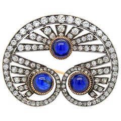 Victorian Sapphire Cabochon and Diamond Brooch, circa 1880s