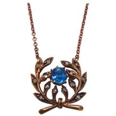 Viktorianische Saphir Diamant 14 Karat Gold Rosecut Laurel Wreath Anhänger Halskette