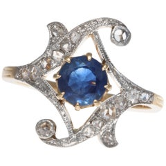 Victorian Sapphire Diamond 18 Karat Gold Ring