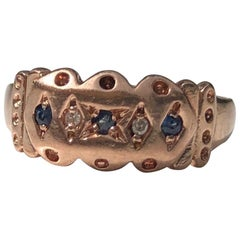 Victorian Sapphire, Diamond and 9 Carat Rose Gold Band