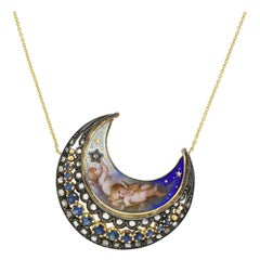 Victorian Sapphire, Diamond, and Enameled Cherub Crescent Pendant Necklace