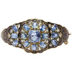 Victorian Sapphire Diamond Enamel Bracelet