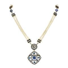Victorian Sapphire Diamond Pearl Silver 18 Karat Gold Strand Pendant Necklace