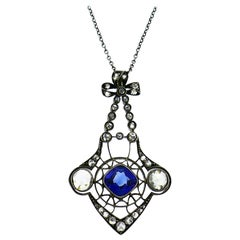 Victorian Sapphire Diamond Pendant Necklace in Yellow Gold Silver, 1900s