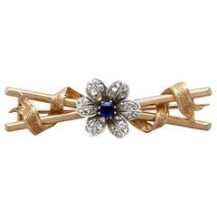 Victorian Sapphire Diamond Rose Gold Brooch