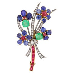 Victorian Sapphire, Diamond, Ruby and Emerald Flower Brooch, circa 1880s