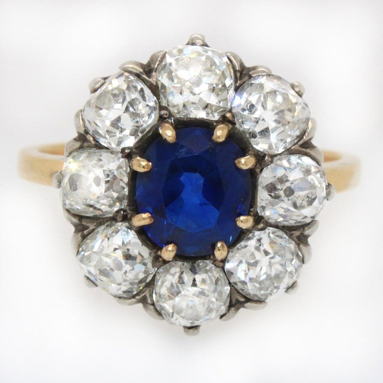 Antique Cushion Cut Victorian Sapphire 'No Heat' and Diamond Cluster Ring, 1880s For Sale