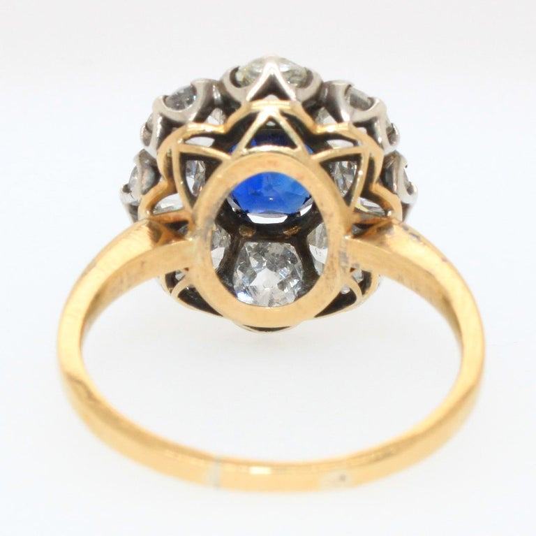 Women's Victorian Sapphire 'No Heat' and Diamond Cluster Ring, 1880s For Sale