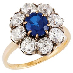 Victorian Sapphire 'No Heat' and Diamond Cluster Ring, 1880s