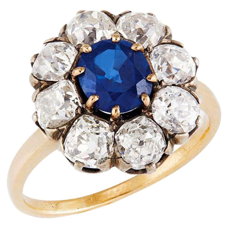 Victorian Sapphire 'No Heat' and Diamond Cluster Ring, 1880s For Sale