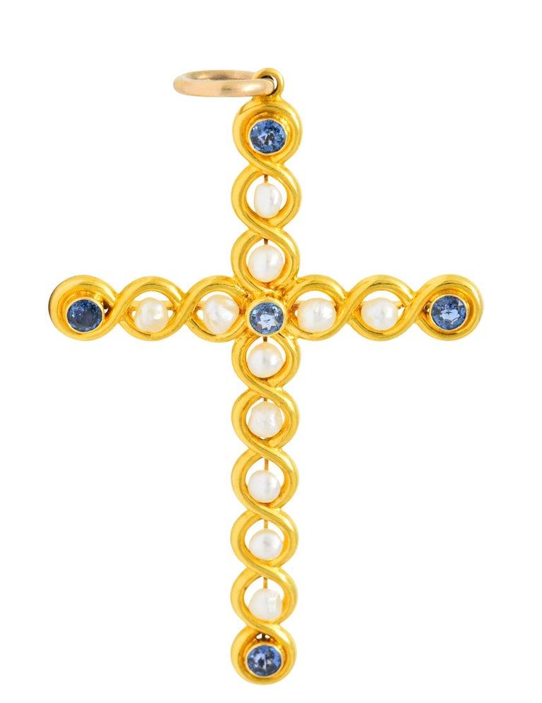 Round Cut Victorian Sapphire Pearl 14 Karat Gold Cross Pendant For Sale
