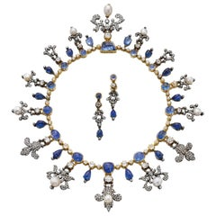 Victorian Sapphire, Pearl and Diamond Fleur De Lys Necklace and Earrings Set