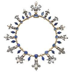 Victorian Sapphire, Pearl and Diamond Fleur de Lys Necklace