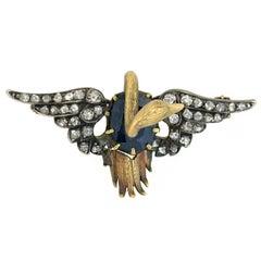 Victorian Sapphire Rose Cut Diamond 3-Dimensnional Swan Brooch