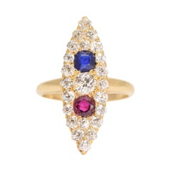 """Victorian Sapphire Ruby Diamond """"Tricolor"""" Marquise Cluster Ring"""