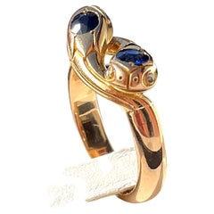 Victorian Sapphires Snakes Yellow Gold Egyptian Ring
