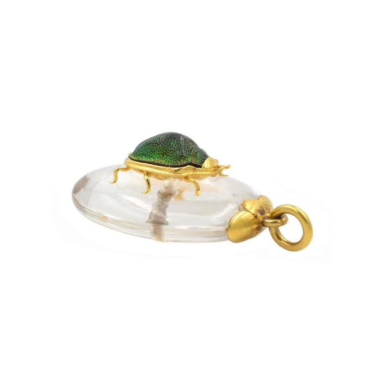 Victorian Scarab Beetle Crystal Pendant In Excellent Condition For Sale In Los Angeles, CA