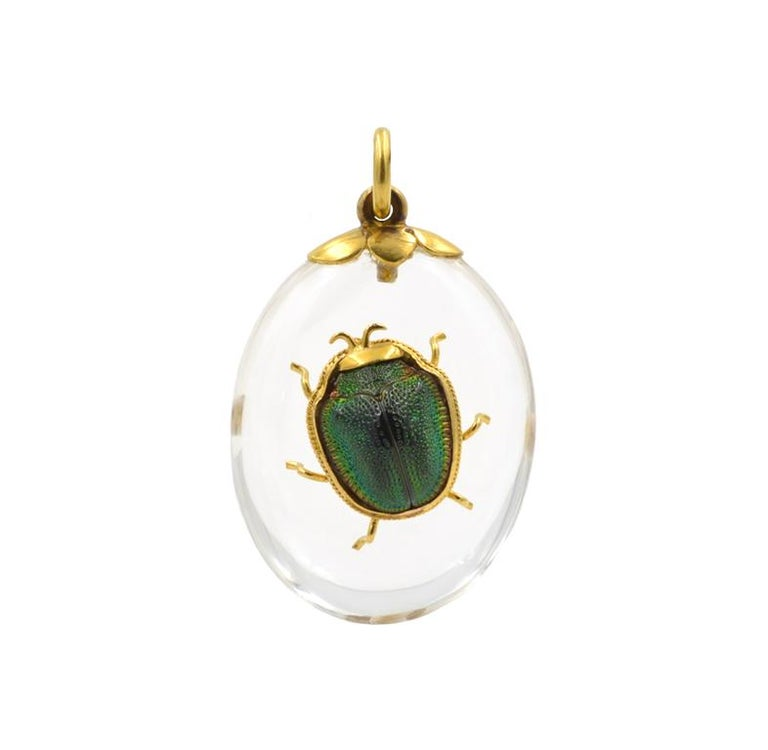 Victorian Scarab Beetle Crystal Pendant For Sale