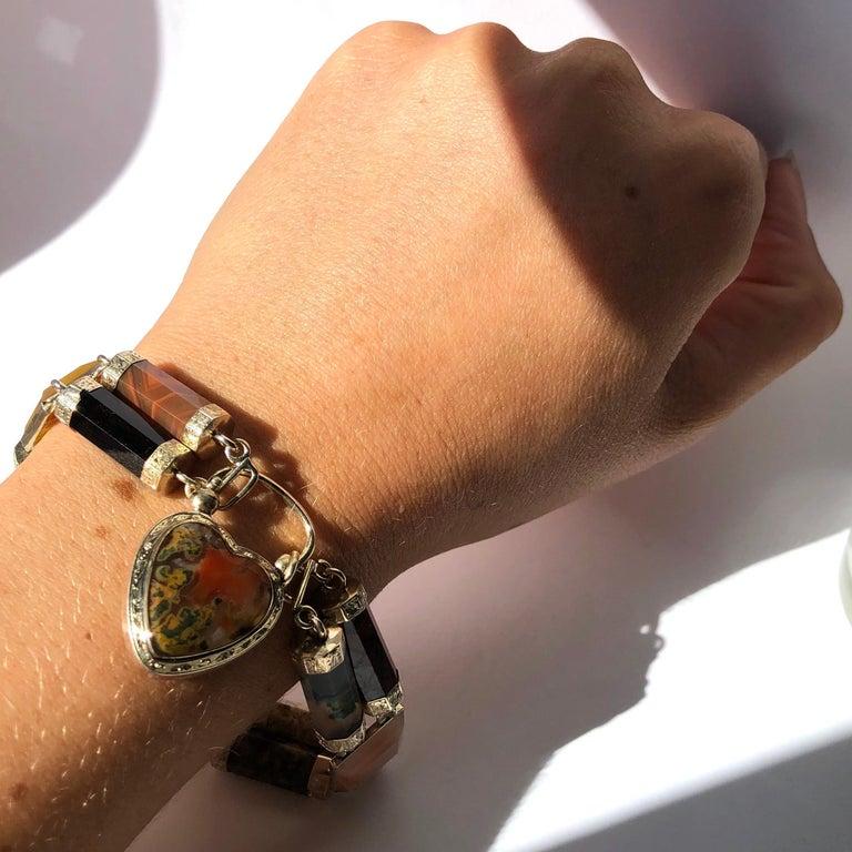 Women's or Men's Victorian Scottish Agate and Gold Locket Bracelet For Sale