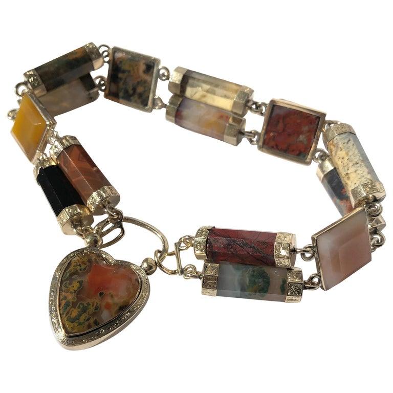 Victorian Scottish Agate and Gold Locket Bracelet For Sale