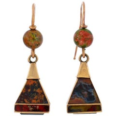 Victorian Scottish Agate Pyramidal Gold Earrings