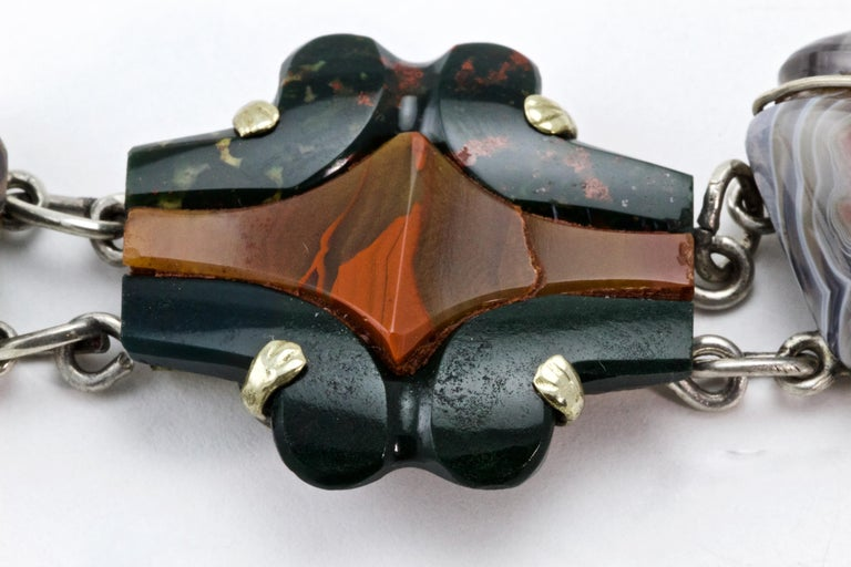 Women's or Men's Victorian Scottish Agate Silver Link Bracelet, circa 1880 For Sale