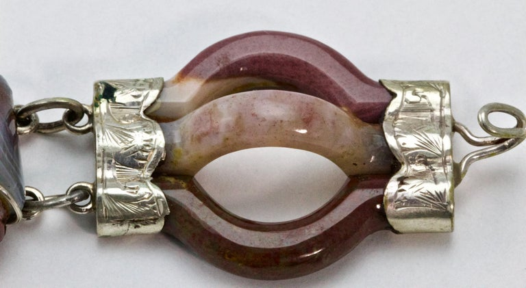 Victorian Scottish Agate Silver Link Bracelet, circa 1880 For Sale 2