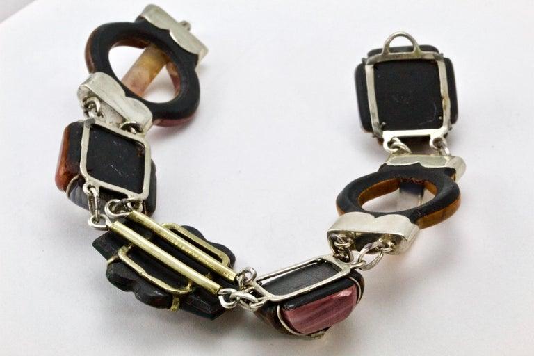 Victorian Scottish Agate Silver Link Bracelet, circa 1880 For Sale 3