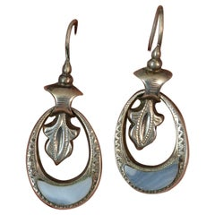 Victorian Scottish Silver Agate Hook Earrings