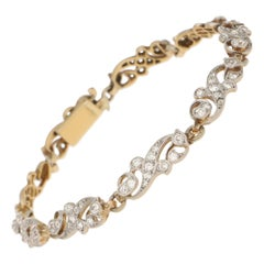 Victorian Scrolled Diamond Bracelet in Silver-on-Gold 2.70cts