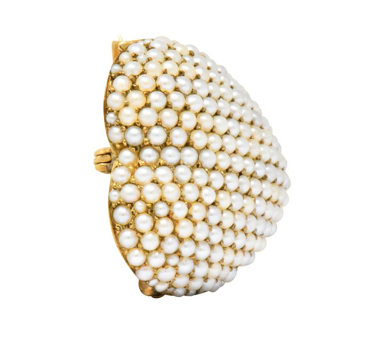 Victorian Seed Pearl 14 Karat Gold Pendant Brooch In Excellent Condition For Sale In Philadelphia, PA