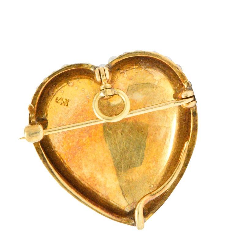Women's or Men's Victorian Seed Pearl 14 Karat Gold Pendant Brooch For Sale