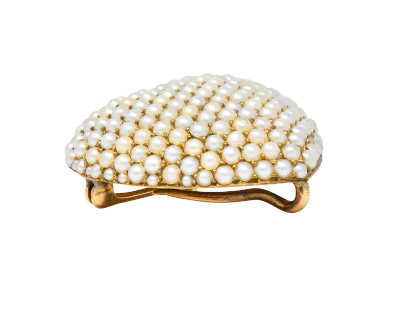 Victorian Seed Pearl 14 Karat Gold Pendant Brooch For Sale 1