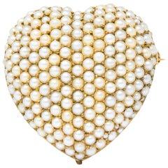 Victorian Seed Pearl 14 Karat Gold Pendant Brooch