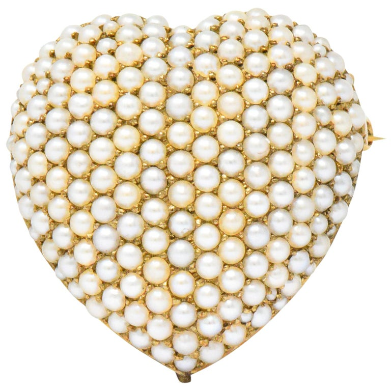 Victorian Seed Pearl 14 Karat Gold Pendant Brooch For Sale
