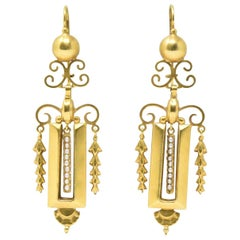 Victorian Seed Pearl and 14 Karat Gold Drop Earrings, circa 1890